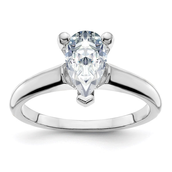 14kt White Gold 12x8mm PEAR Colorless Moissanite Solitaire Ring 3.57 Carat, Ring Size 8