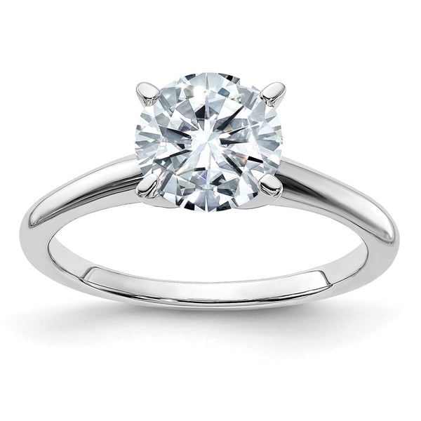 14kt White Gold 10mm ROUND Colorless Moissanite Solitaire Ring 3.6 Carat, Ring Size 5