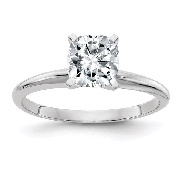 14k White Gold 5.0mm Cushion Moissanite Solitaire Ring 0.6 Carat, Ring Size 7