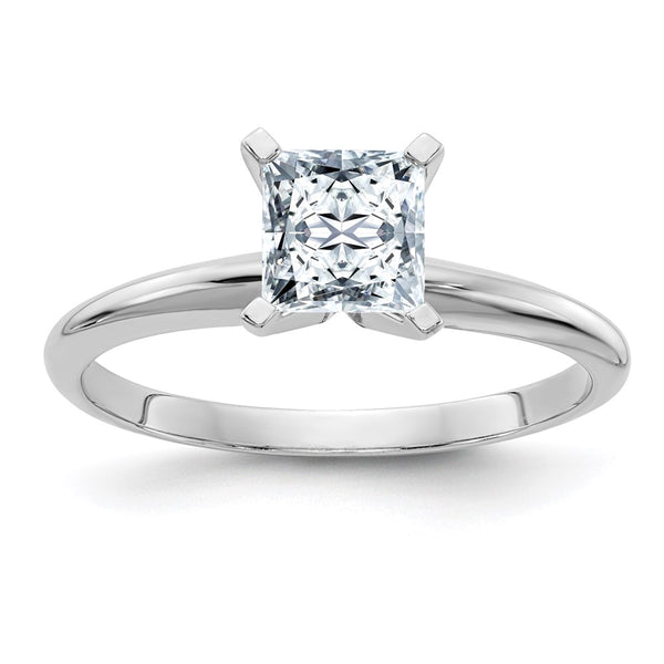 14k White Gold 7.0mm Colorless Moissanite Princess Solitaire Ring 2.1 Carat, Ring Size 6