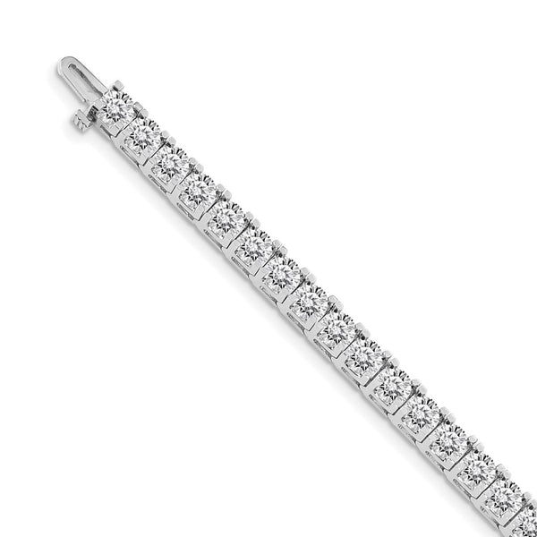 14k White Gold Colorless Moissanite 4 Prong Tennis Bracelet 16.5 Carat