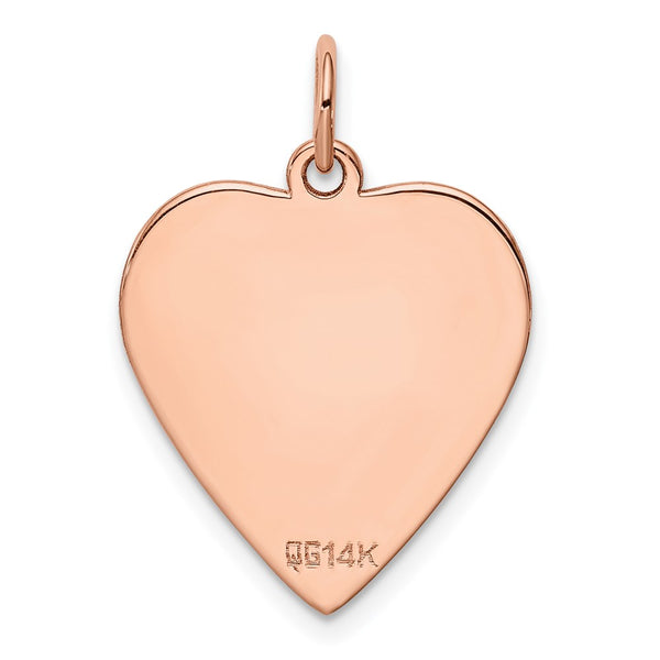 14k Rose Gold Solid Plain .018 Gauge Engraveable Heart Disc Charm Pendant