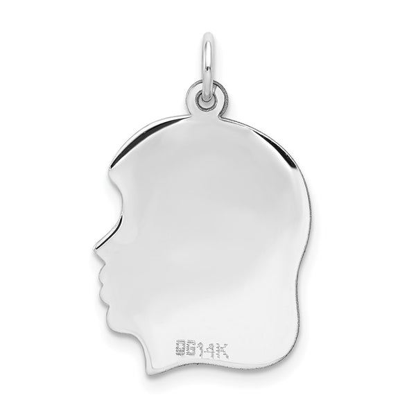14k White Gold Solid Plain Medium Facing Right Engravable Girl Charm Pendant