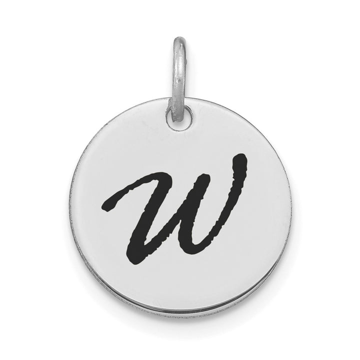 14k White Gold Polished Letter W Black Epoxy Initial Disk Charm Pendant