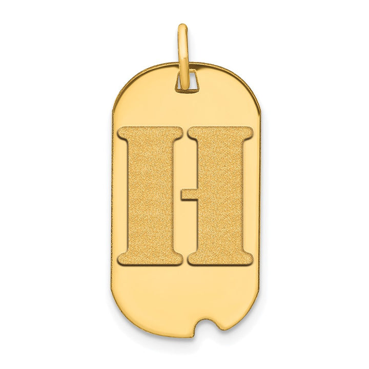 14k Yellow Gold Polished Letter H Initial Dog Tag Charm Pendant