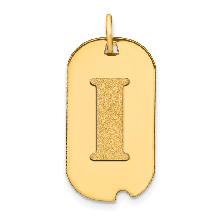 14k Yellow Gold Polished Letter I Initial Dog Tag Charm Pendant