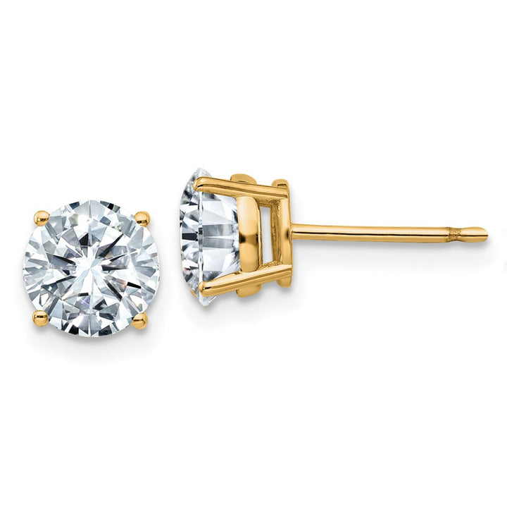14k Yellow Gold 6.5mm Round Colorless Moissanite Basket Post Earring 2 Carat