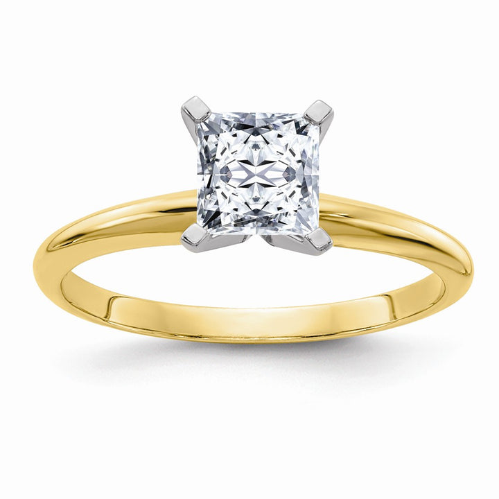 14k Yellow Gold 5.5mm Colorless Moissanite Princess Solitaire Ring 1 Carat, Ring Size 6