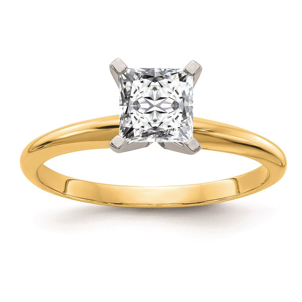 14k Yellow Gold 5.5mm Colorless Moissanite Princess Solitaire Ring 1 Carat, Ring Size 8