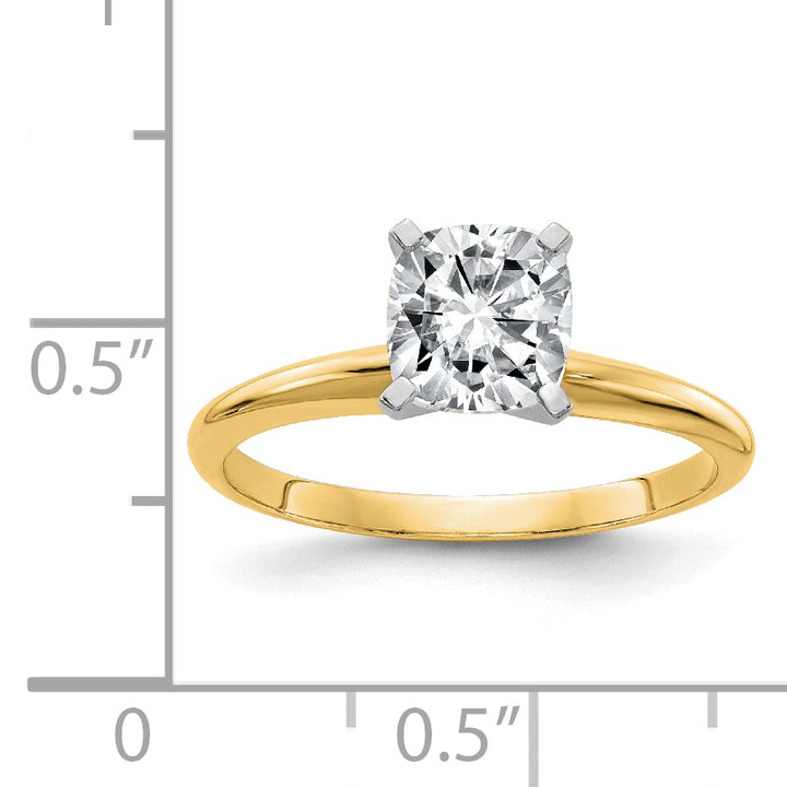 14k Yellow Gold 6.5mm Cushion Moissanite Solitaire Ring 1.3 Carat, Ring Size 7
