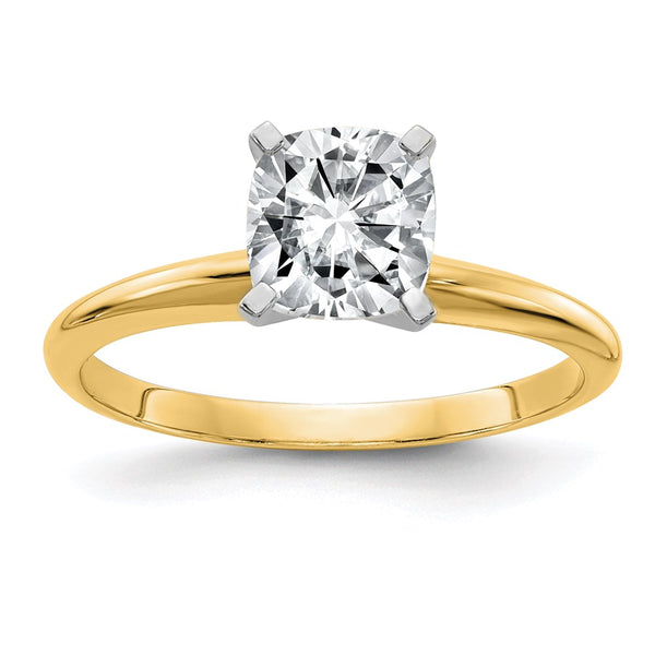 14k Yellow Gold 7.0mm Cushion Moissanite Solitaire Ring 1.7 Carat, Ring Size 7