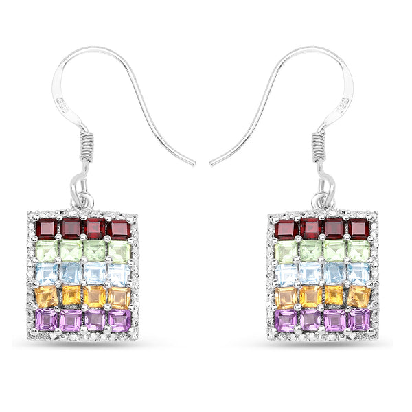 925 Sterling Silver Genuine Multi Stones Earrings (4.32 Carat)