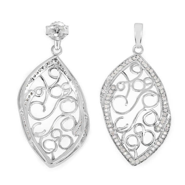 925 Sterling Silver Genuine White Diamond Earrings (0.73 Carat)