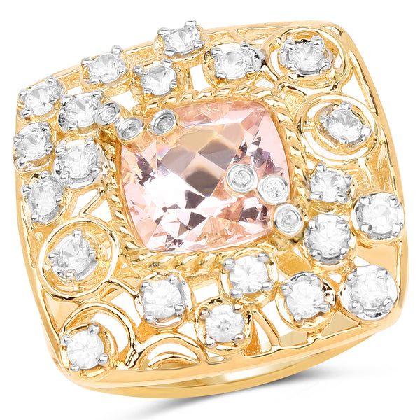 925 Sterling Silver & 14K Yellow Gold Plated Synthartic Morganite and White Topaz Ring (3.33 Carat) Multiple Sizes