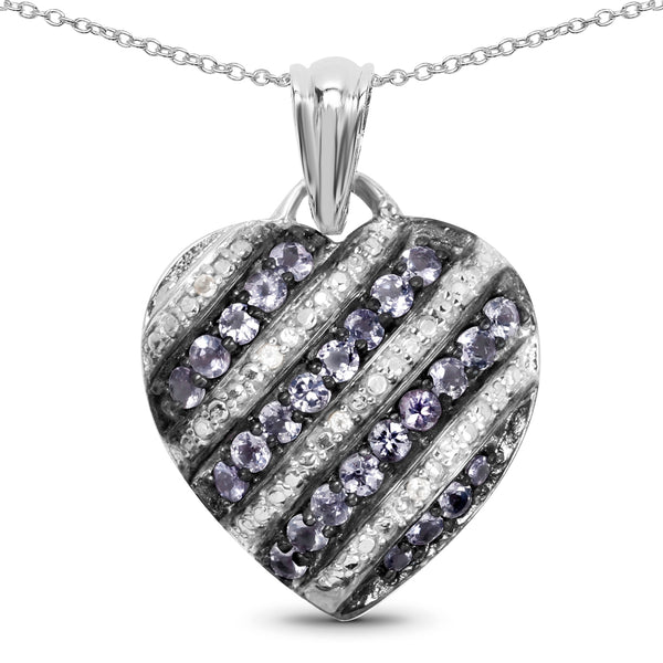 925 Sterling Silver Genuine Tanzanite and White Topaz Pendant (1.30 Carat)