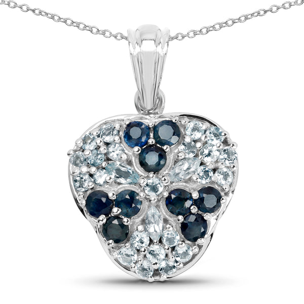 925 Sterling Silver Genuine Blue Sapphire and Aquamarine Pendant (2.73 Carat)