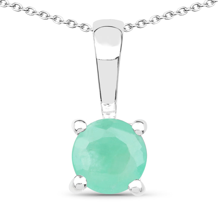 925 Sterling Silver Emerald, Glass Filled Ruby and Glass Filled Sapphire Pendant (1.68 Carat)