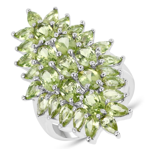 925 Sterling Silver Genuine Peridot Ring (8.89 Carat) Multiple Sizes