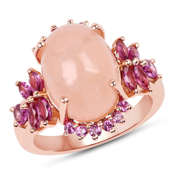 925 Sterling Silver & 14K Rose Gold Plated Genuine Morganite and Rhodolite Ring (9.13 Carat) Multiple Sizes