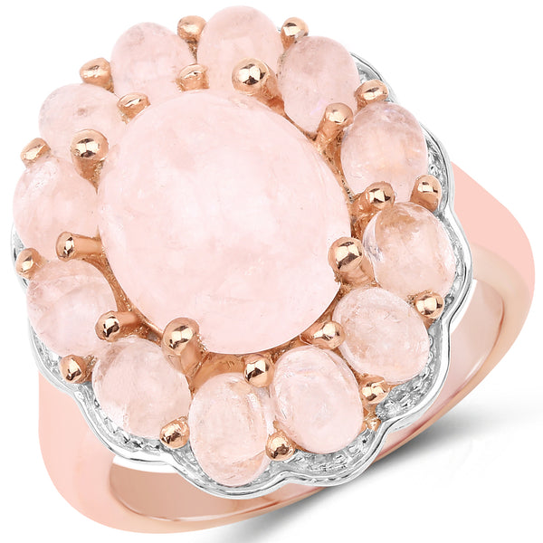 925 Sterling Silver & 14K Rose Gold Plated Genuine Morganite Ring (6.76 Carat) Multiple Sizes