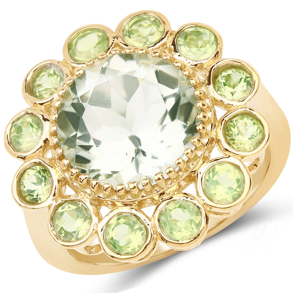 925 Sterling Silver & 14K Yellow Gold Plated Genuine Green Amethyst and Peridot Ring (5.90 Carat) Multiple Sizes