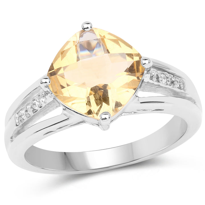 925 Sterling Silver Genuine Citrine and White Topaz Ring (2.64 Carat) Multiple Sizes