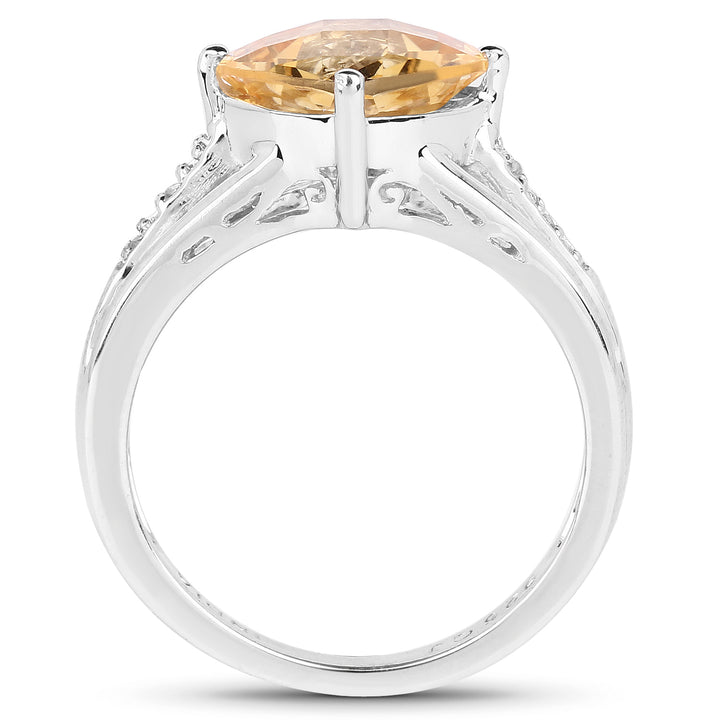 925 Sterling Silver Genuine Citrine and White Topaz Ring (2.64 Carat) Size 6