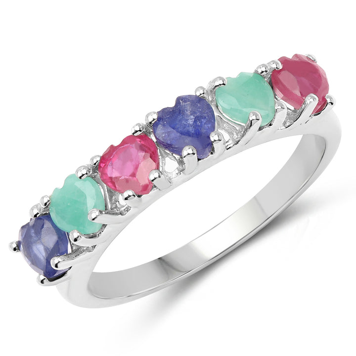925 Sterling Silver Genuine Multi Stone Ring (1.88 Carat) Multiple Sizes