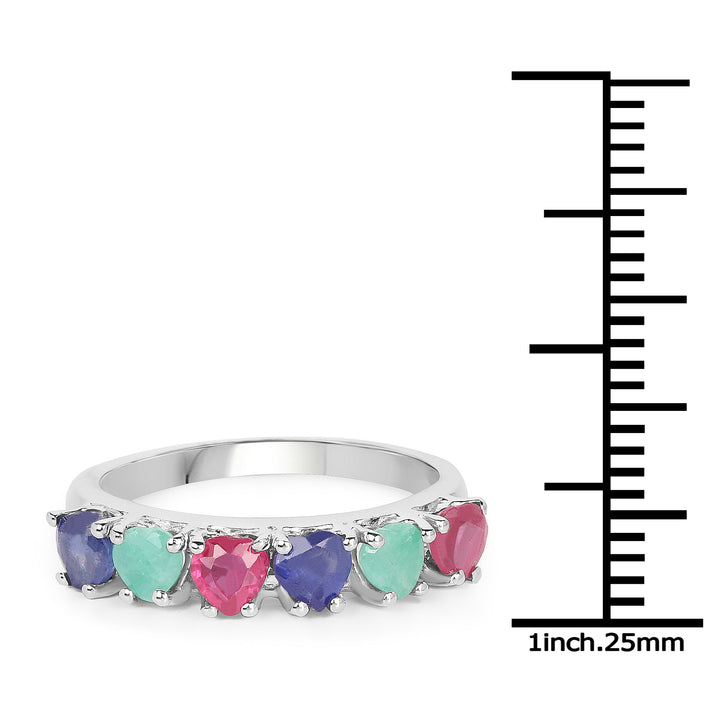 925 Sterling Silver Genuine Multi Stone Ring (1.88 Carat) Size 6