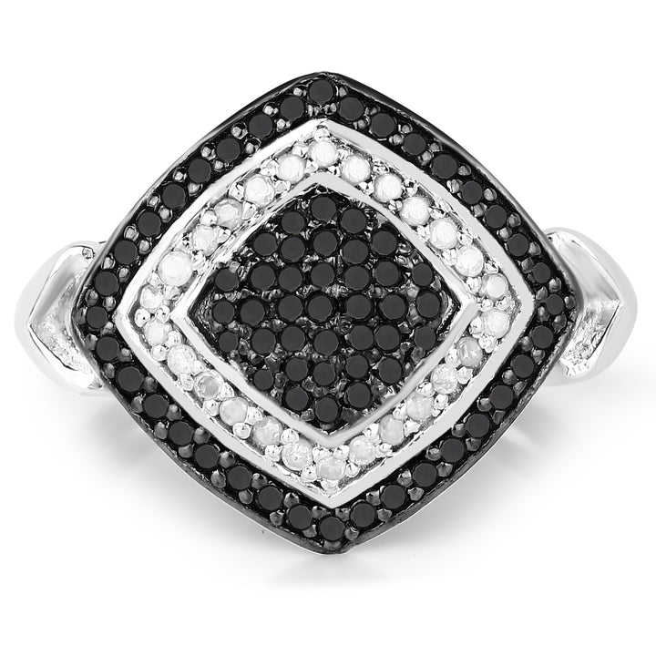 925 Sterling Silver Genuine White Diamond and Black Diamond Ring (0.56 Carat) Multiple Sizes