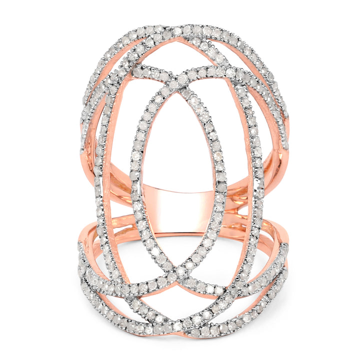 925 Sterling Silver & 14K Rose Gold Plated Genuine White Diamond Ring (0.73 Carat) Multiple Sizes