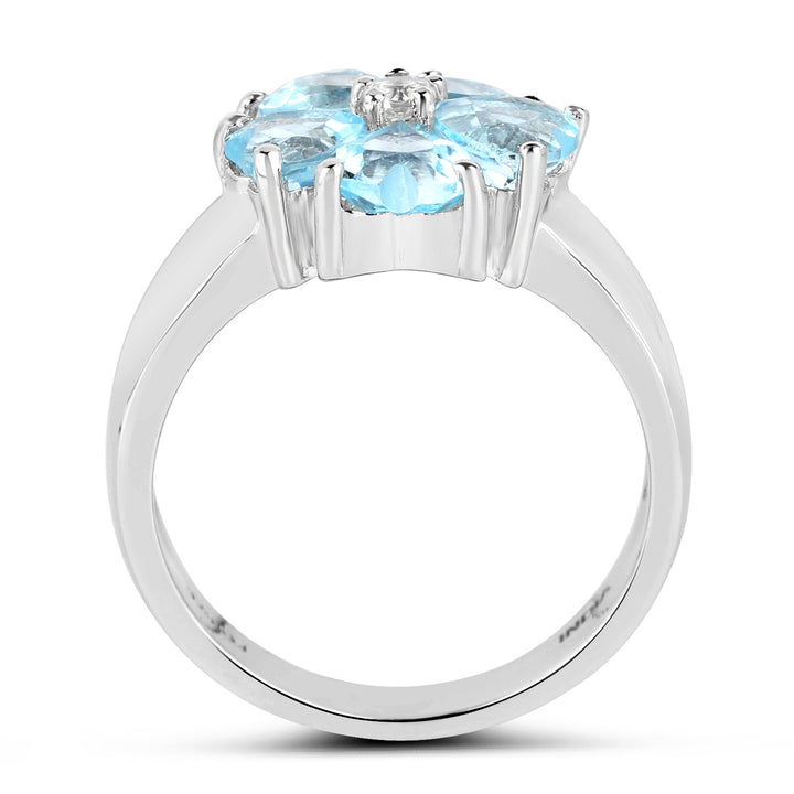 925 Sterling Silver Genuine Blue Topaz and White Topaz Ring (2.58 Carat) Multiple Sizes