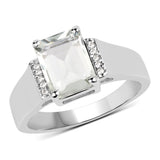 925 Sterling Silver Genuine Green Amethyst and White Topaz Ring (2.25 Carat) Size 8