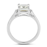 925 Sterling Silver Genuine Green Amethyst and White Topaz Ring (2.25 Carat) Multiple Sizes