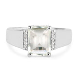 925 Sterling Silver Genuine Green Amethyst and White Topaz Ring (2.25 Carat) Size 6