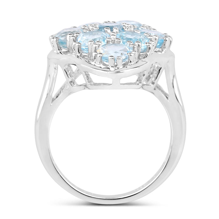 925 Sterling Silver Genuine Blue Topaz Ring (5.40 Carat) Size 7