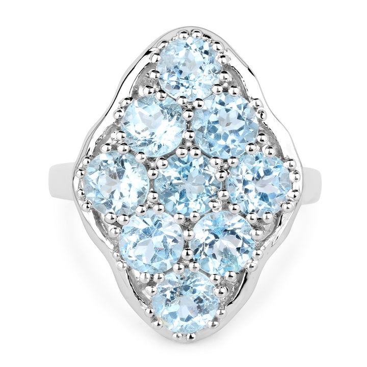 925 Sterling Silver Genuine Blue Topaz Ring (5.40 Carat) Size 8