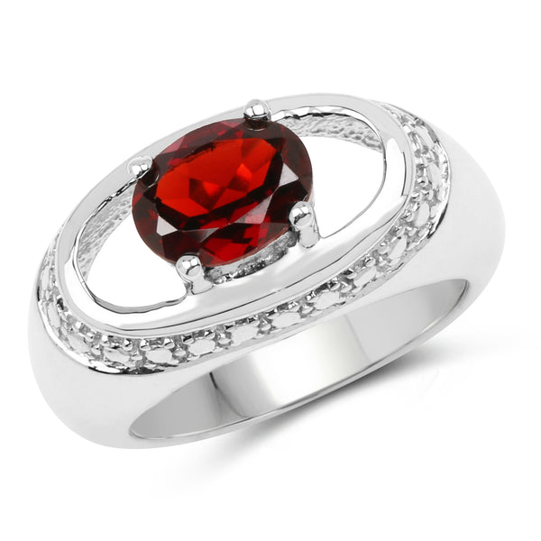 925 Sterling Silver Genuine Garnet Ring (2.50 Carat) Multiple Sizes
