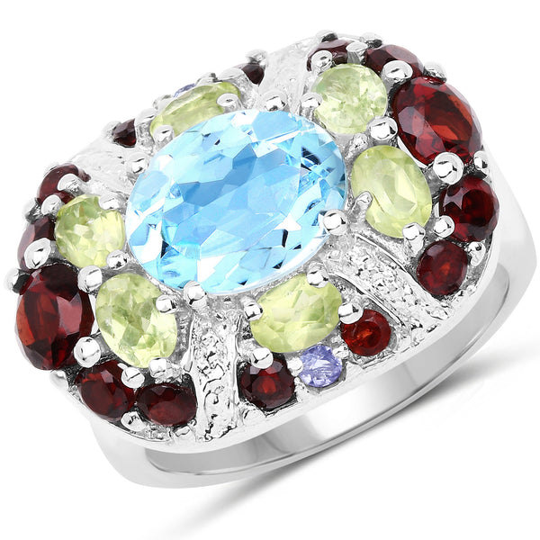 925 Sterling Silver Genuine Multi Stone Ring (5.43 Carat) Multiple Sizes