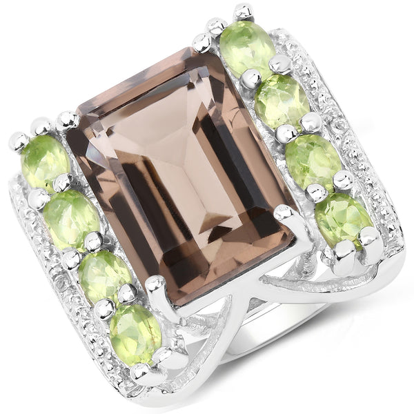 925 Sterling Silver Genuine Smoky Quartz, Peridot and White Topaz Ring (8.49 Carat) Multiple Sizes