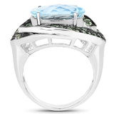 925 Sterling Silver Genuine Blue Topaz and Peridot Ring (7.39 Carat) Multiple Sizes