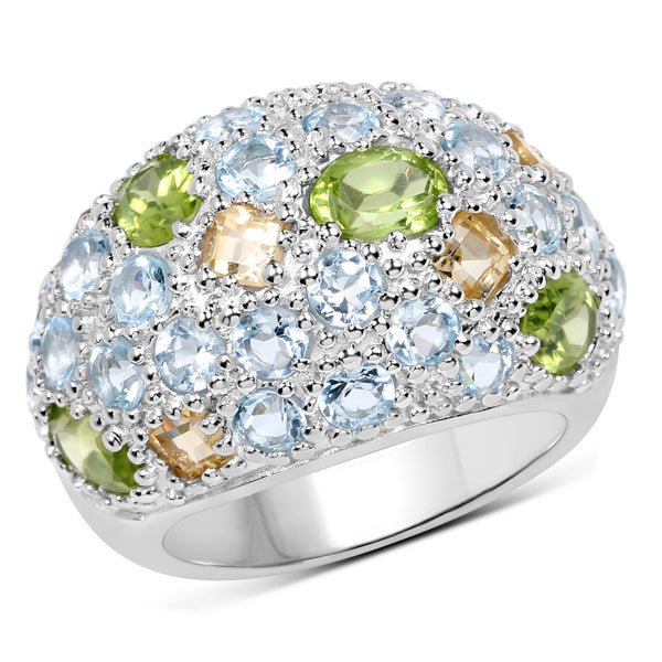 925 Sterling Silver Genuine Peridot, Citrine and Blue Topaz Ring (11.38 Carat) Multiple Sizes