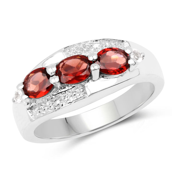 925 Sterling Silver Genuine Garnet and White Topaz Ring (1.58 Carat) Multiple Sizes
