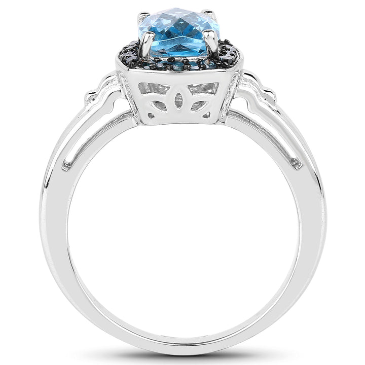 925 Sterling Silver Genuine Baby Swiss Blue Topaz and Blue Diamond Ring (1.97 Carat) Multiple Sizes