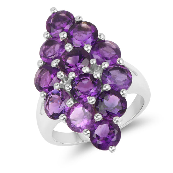 925 Sterling Silver Genuine Amethyst Ring (6.78 Carat) Multiple Sizes