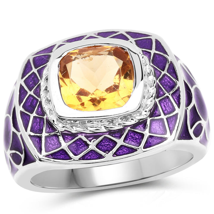 925 Sterling Silver Genuine Citrine Ring (2.00 Carat) Multiple Sizes