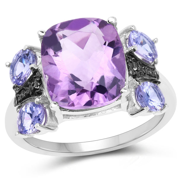 925 Sterling Silver Genuine Amethyst, Tanzanite and White Topaz Ring (5.53 Carat) Multiple Sizes