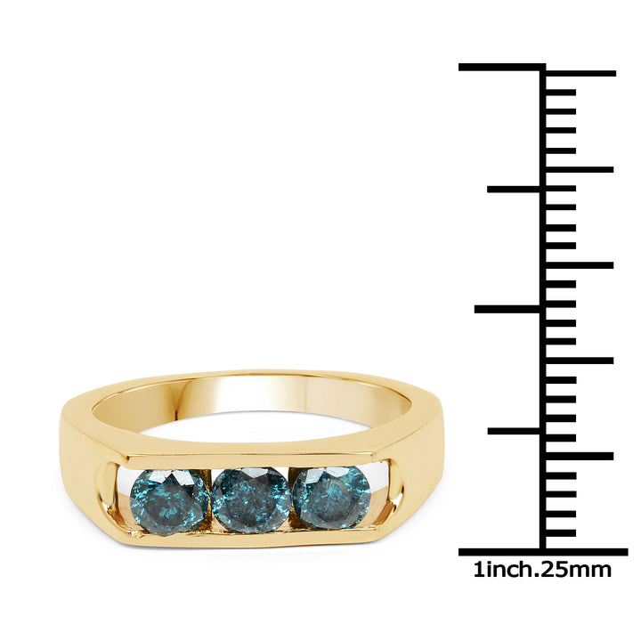 925 Sterling Silver with 14K Yellow Gold Plated Genuine Blue Diamond Ring (0.90 Carat) Multiple Sizes
