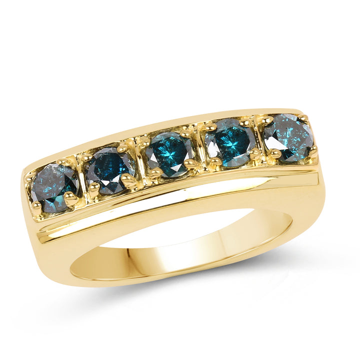 925 Sterling Silver with 14K Yellow Gold Plated Genuine Blue Diamond Ring (1.25 Carat) Multiple Sizes