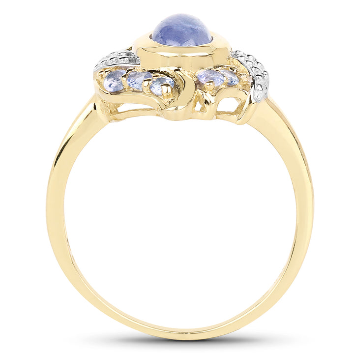 925 Sterling Silver & 14K Yellow Gold Plated Genuine Tanzanite Ring (1.59 Carat) Size 7